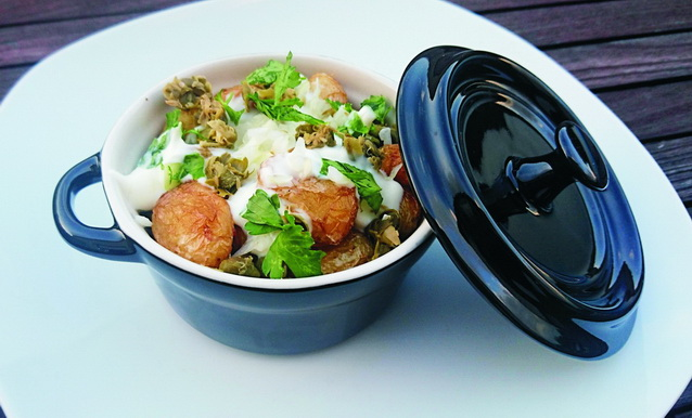 Pommes de terre primeur et crème de cive © Vici - Aidomenu
