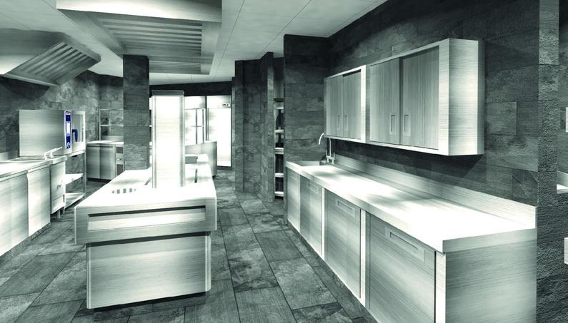 ©Agence Richard Bagur. Vue 3D de la cuisine du Président à Lyon/ BOS Équipement